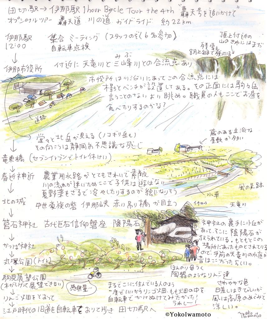 長野県伊那市付近のガイドサイクリングスケッチ