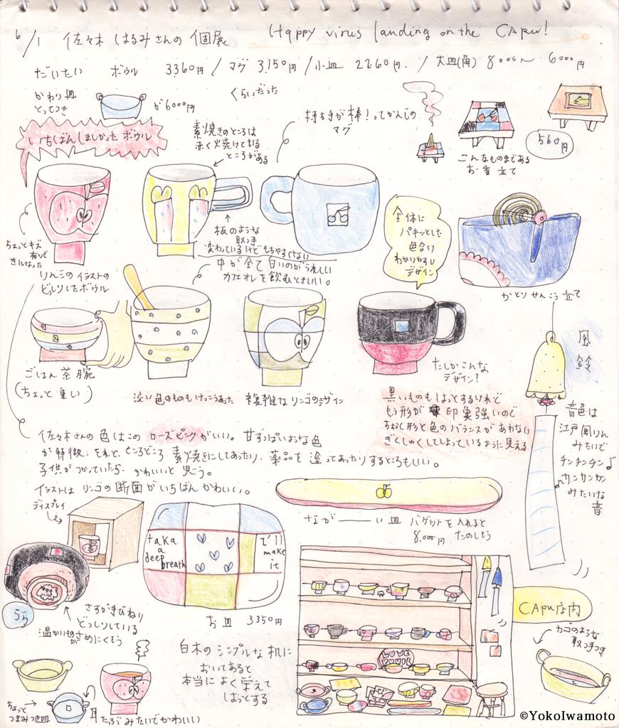 陶芸家・佐々木はるみさんの個展スケッチ